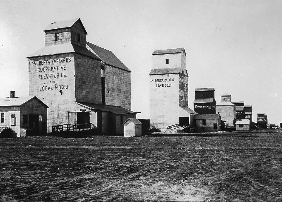 Grain elevators in Barons, AB, 1919.