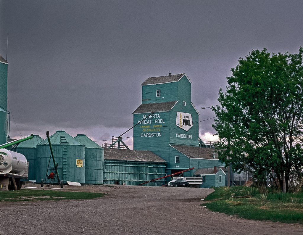 Cardston, AB grain elevator, May 1992. Copyright by Gary Rich.