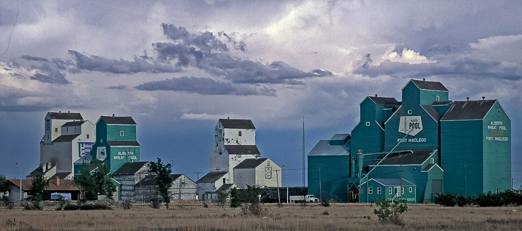 Elevator row in Fort MacLeod, AB, 1992. Copyright by Gary Rich.