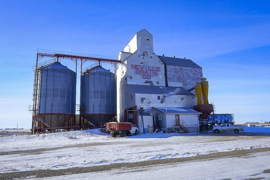 Neville, SK grain elevator, Feb 2018. Copyright by Michael Truman.
