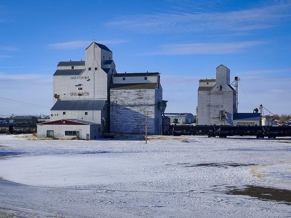 Two grain elevators, Shaunavon, SK, March 2018. Copyright by Michael Truman.