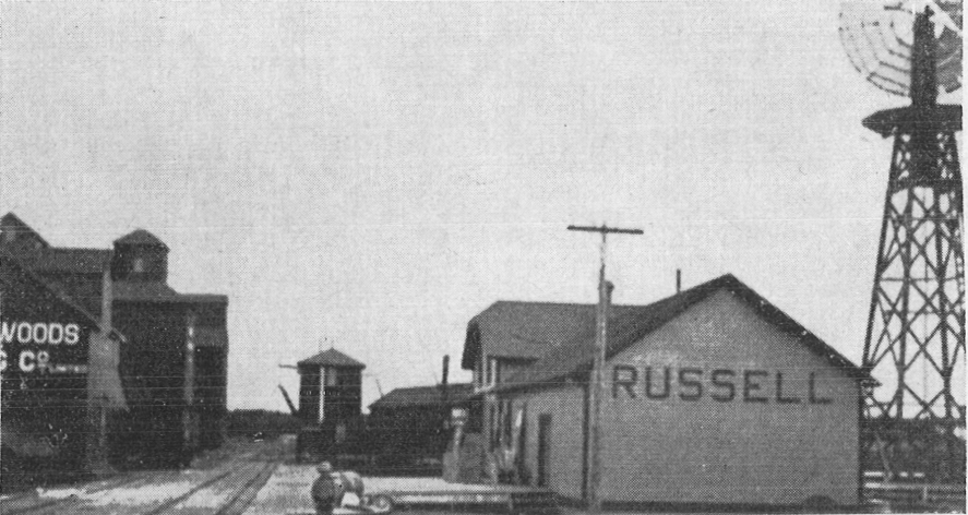CPR train station and grain elevators in Russell, MB, early 1900s