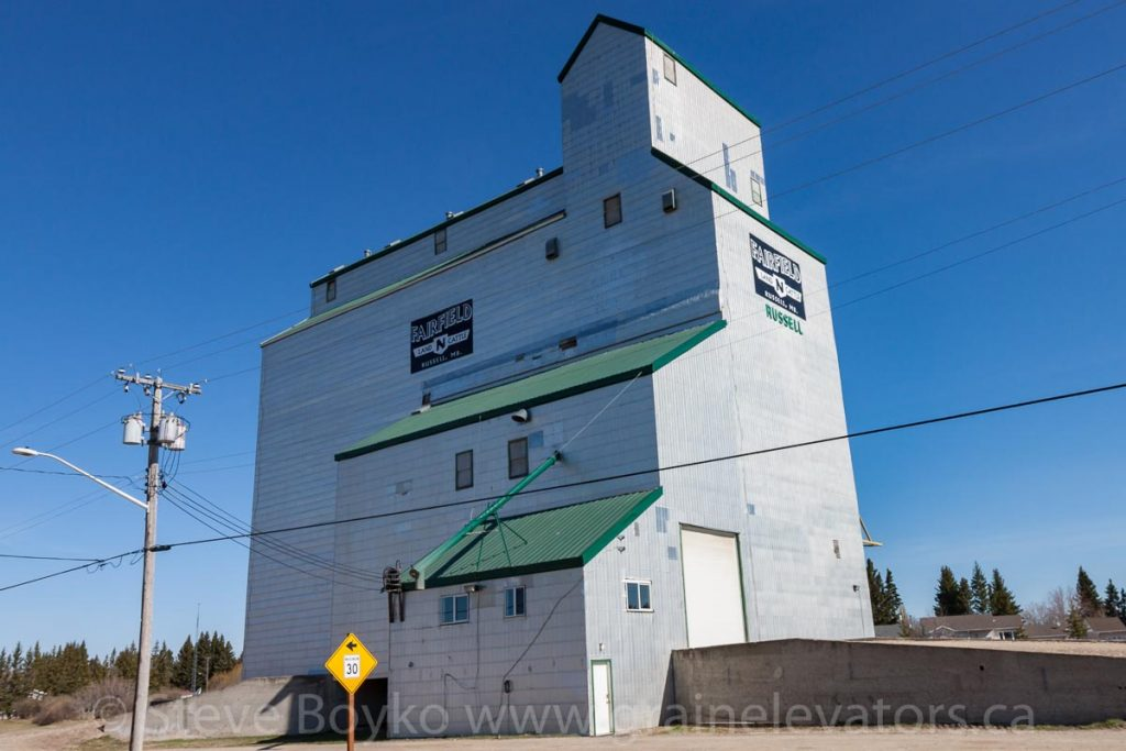 The grain elevator in Russell, MB, Apr 2016. Contributed by Steve Boyko.