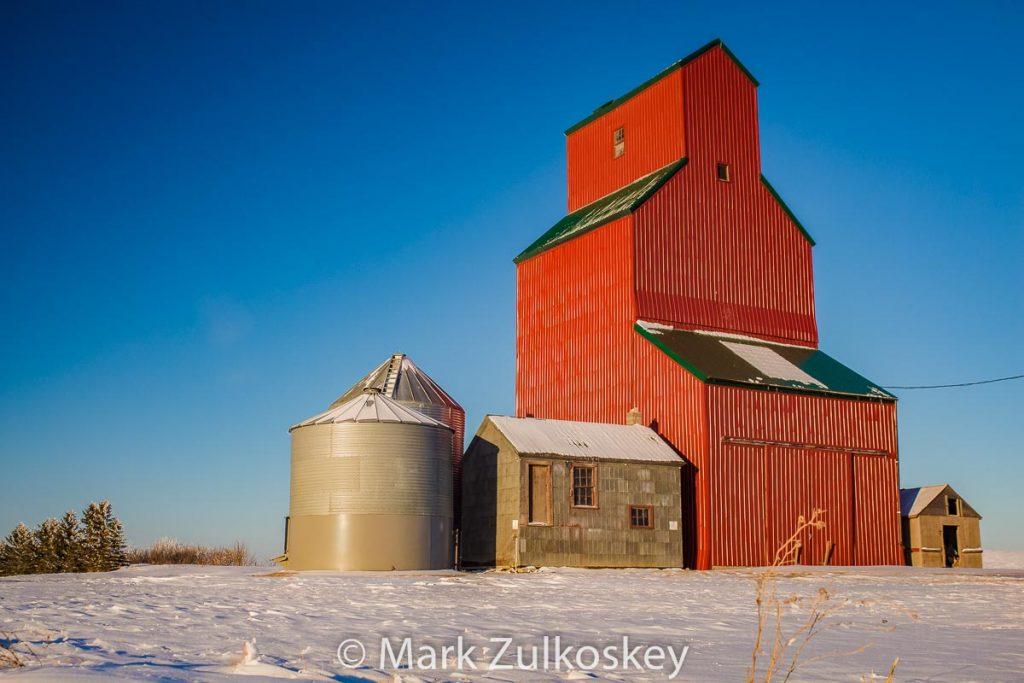 Rutland, SK grain elevator, 2014. Contributed by Mark Zulkoskey.
