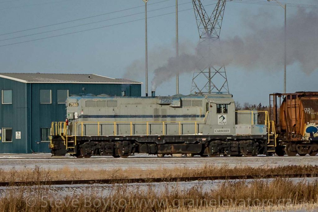 "ADM locomotive ""Carberry"" in Carberry, MB. Contributed by Steve Boyko."