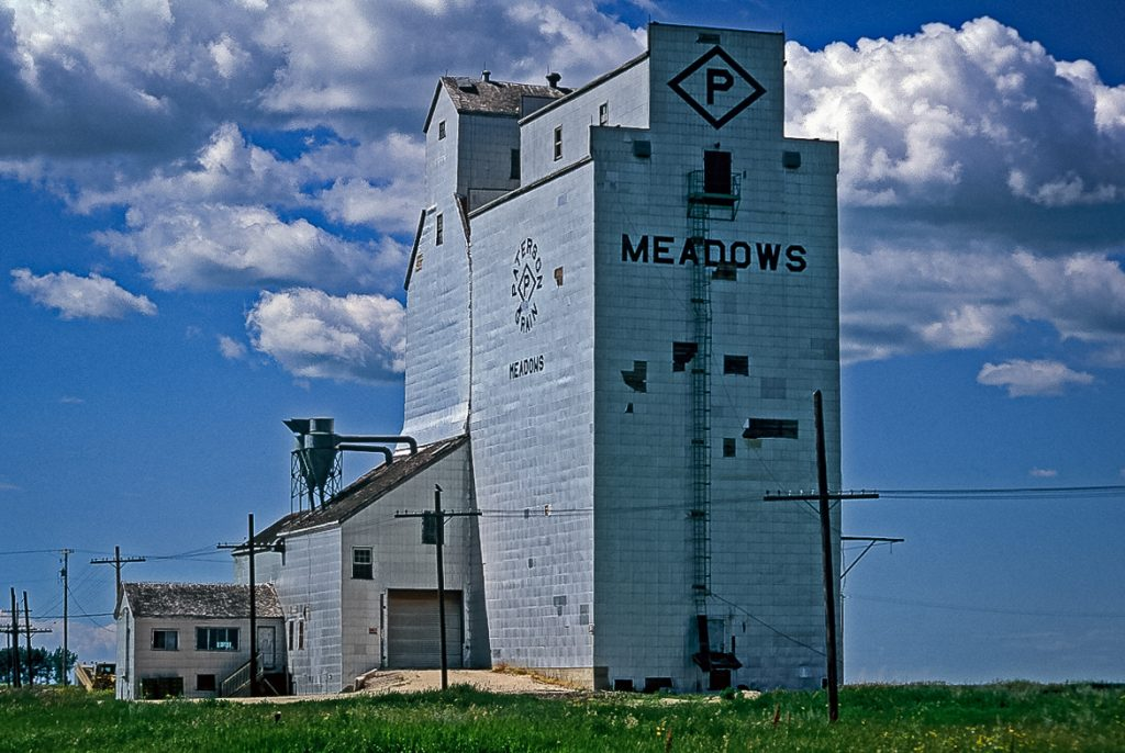 The Meadows, MB grain elevator, July 2001. Copyright by Gary Rich.