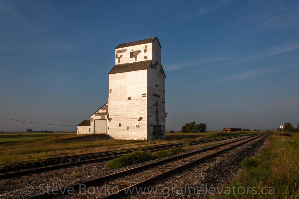"Pool ""A"" grain elevator in Napinka, MB, Aug 2014. Contributed by Steve Boyko."