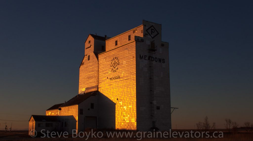 The Paterson grain elevator in Meadows, MB, Oct 2012. Contributed by Steve Boyko.