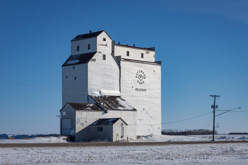 The former grain elevator in Meadows, MB, March 2014. Contributed by Steve Boyko.