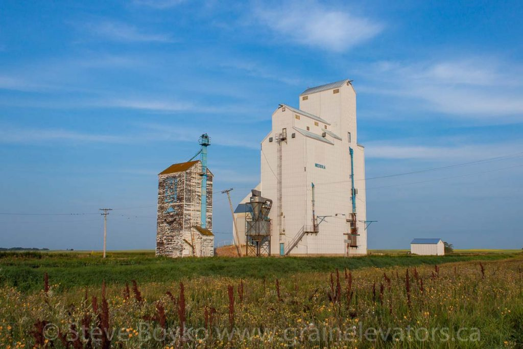 The grain elevator in Medora, Manitoba, Aug 2014. Contributed by Steve Boyko.