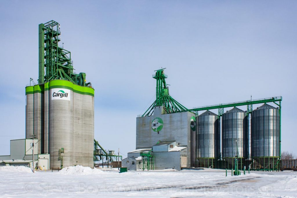 Cargill grain elevators in Morris, MB, Feb 2014. Contributed by Steve Boyko.