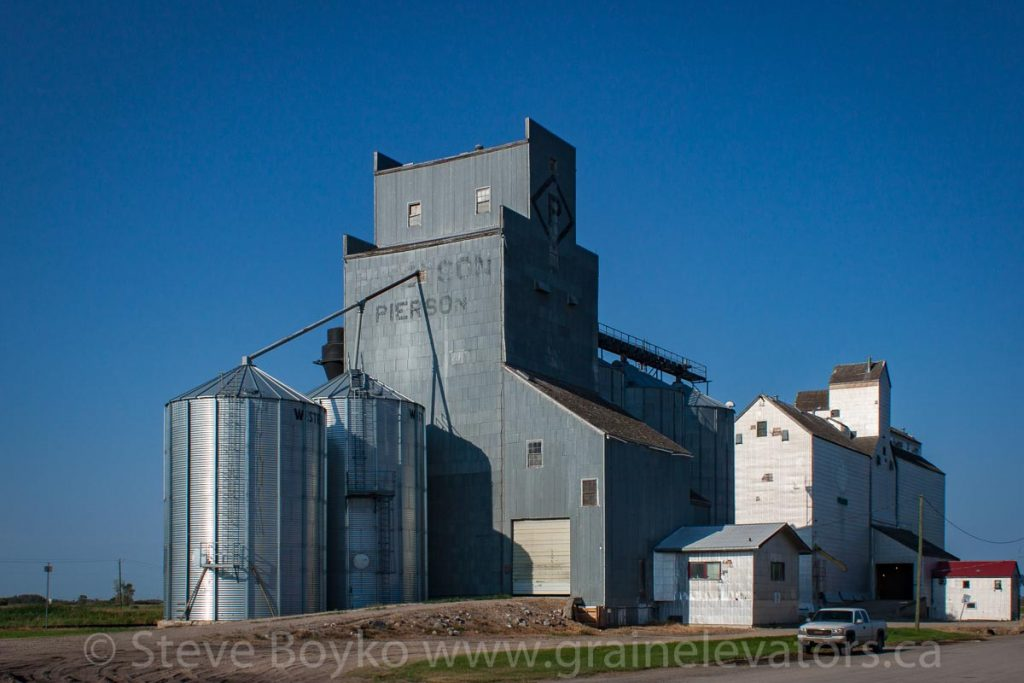 N.M. Paterson grain elevator in Pierson, MB, Aug 2014. Contributed by Steve Boyko.