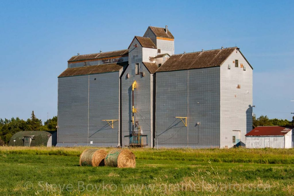 Former Manitoba Pool grain elevator in Pierson, MB, Aug 2014. Contributed by Steve Boyko.