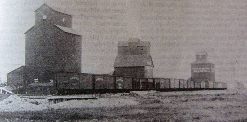 Reston, MB grain elevators, 1907.