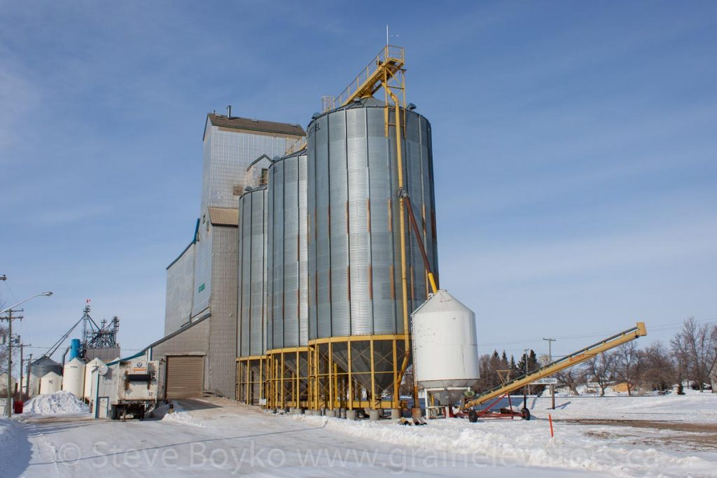 The St. Jean Baptiste, MB grain elevator, Feb 2014. Contributed by Steve Boyko.