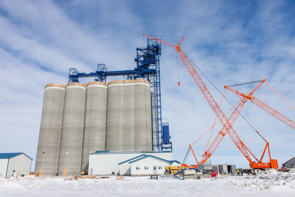 Ste. Agathe grain elevator under construction, Feb 2016. Contributed by Steve Boyko.