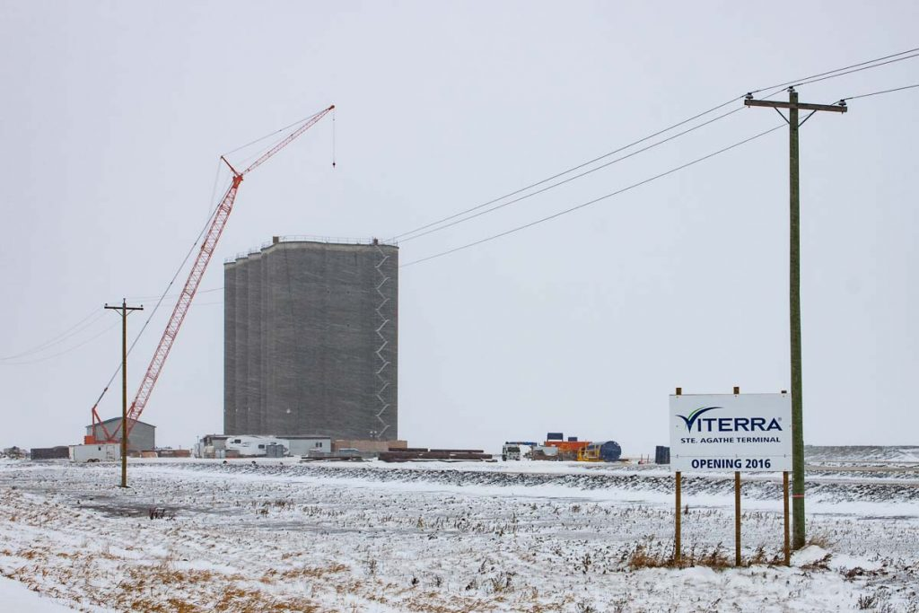 Ste. Agathe grain elevator under construction, Nov 2015. Contributed by Steve Boyko.