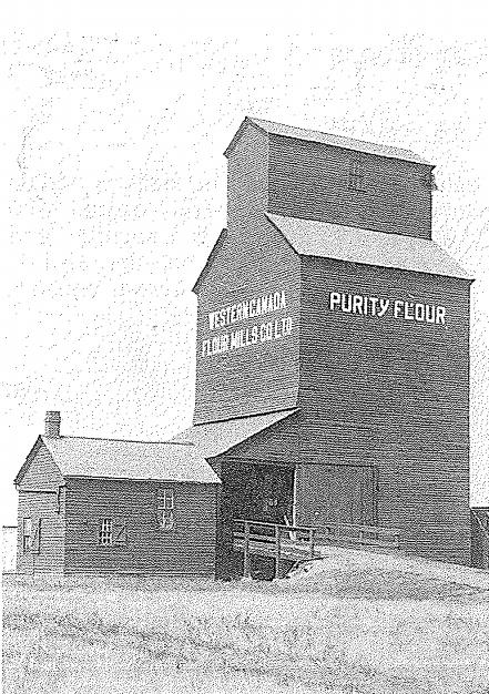 Western Canada Flour Mills grain elevator in Oakburn, MB, 1915.