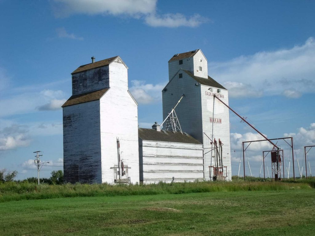 Grain elevator in Wakaw, SK. Contributed by Jim A Pearson.