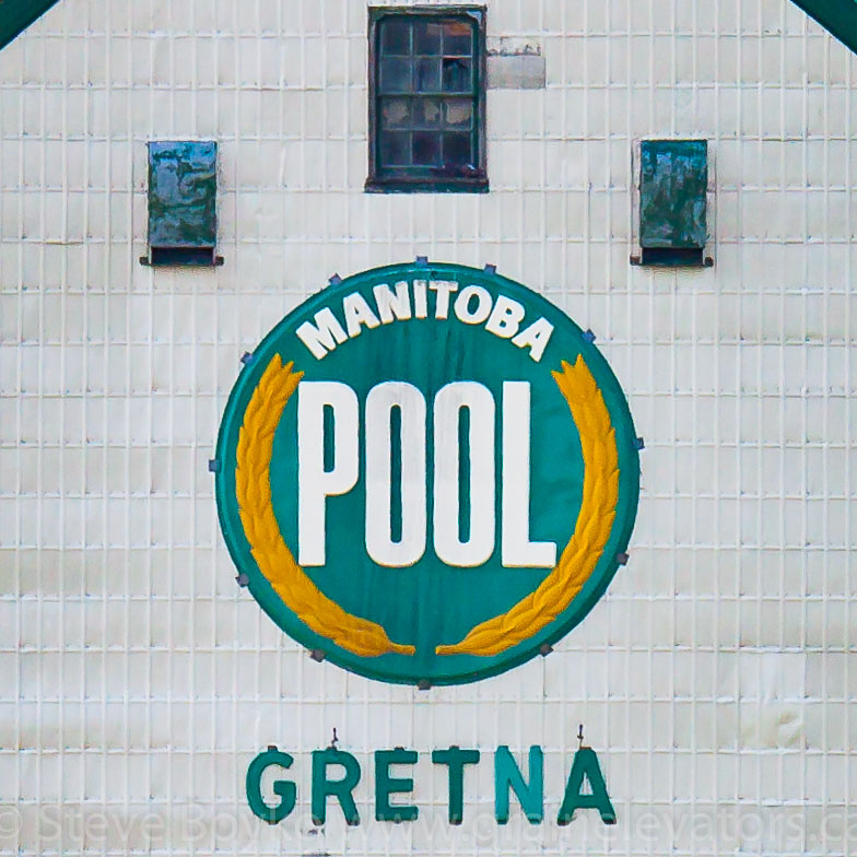 The Manitoba Pool roundel on the Gretna grain elevator. Contributed by Steve Boyko.
