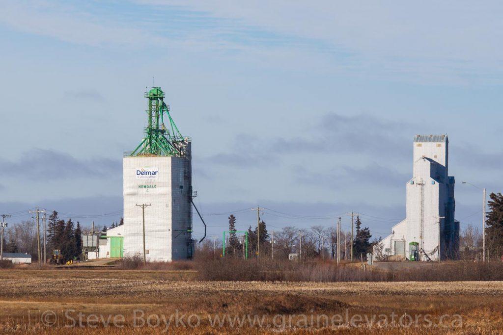 Grain elevators in Newdale, Manitoba, Nov 2014. Contributed by Steve Boyko.