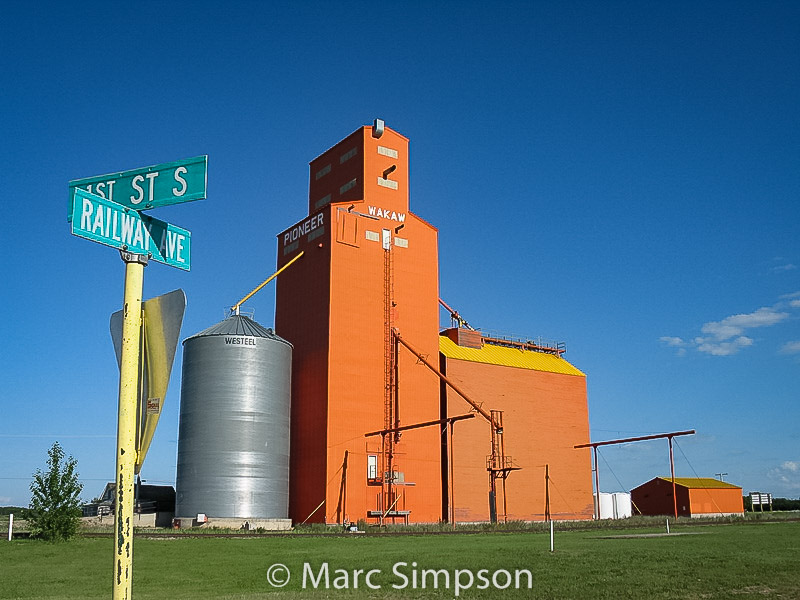 Wakaw, SK grain elevator, July 2009. Contributed by Marc Simpson.