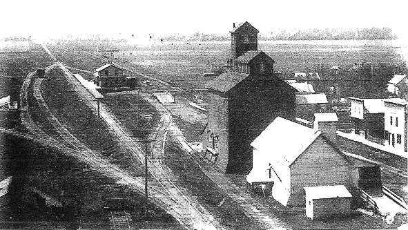 Gretna prior to 1910, showing the Henry Ritz elevator and CPR station.