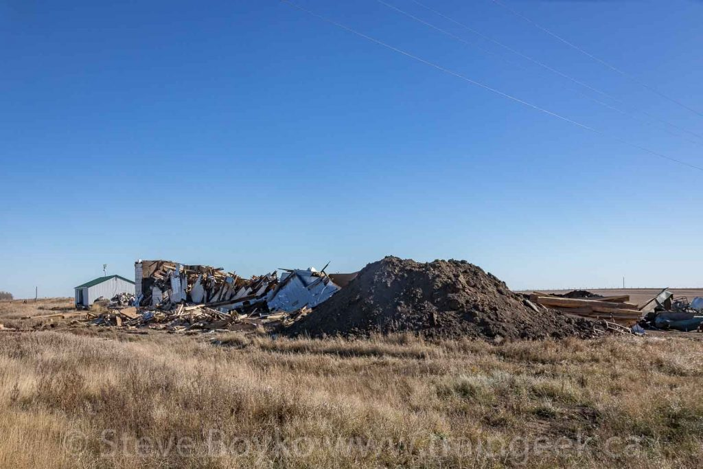 Remains of the Justice grain elevator, October 21, 2018. Contributed by Steve Boyko.