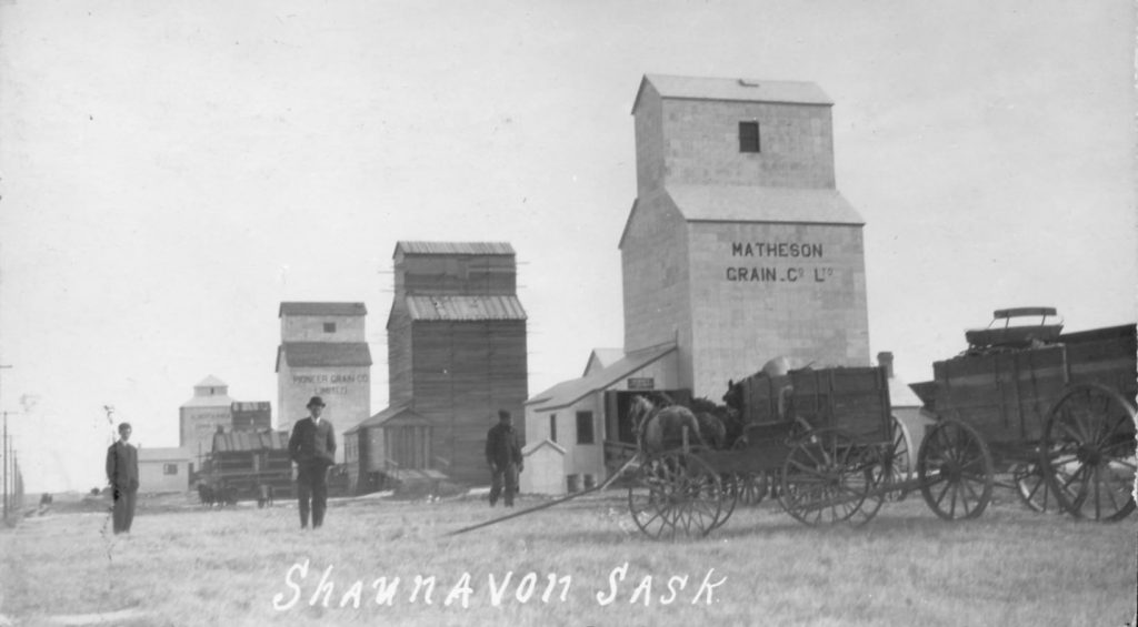 Historic photo of grain elevators in Shaunavon, SK.