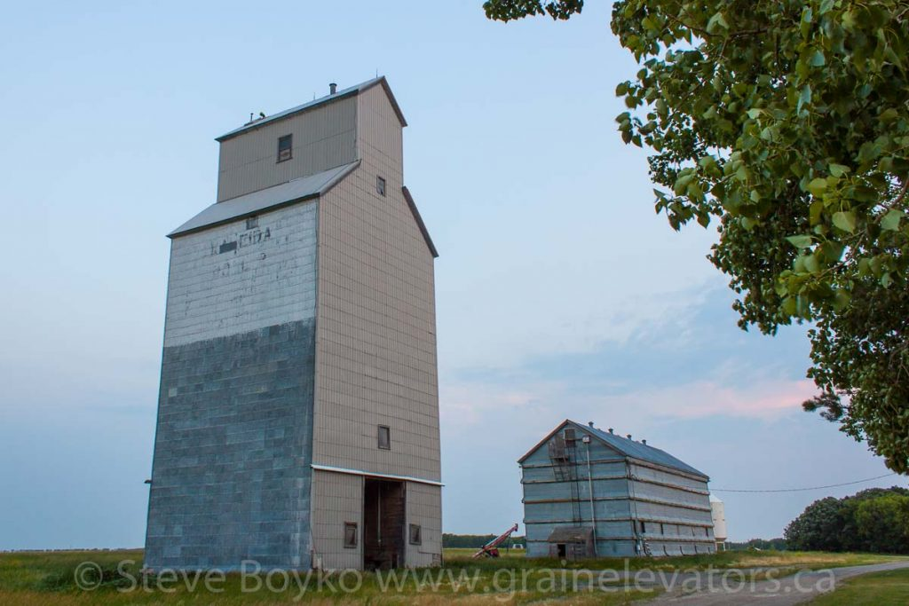 The Kaleida grain elevator and annex, July 2014. Contributed by Steve Boyko.
