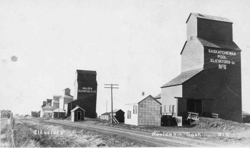 Rouleau, SK grain elevators - date and photographer unknown.