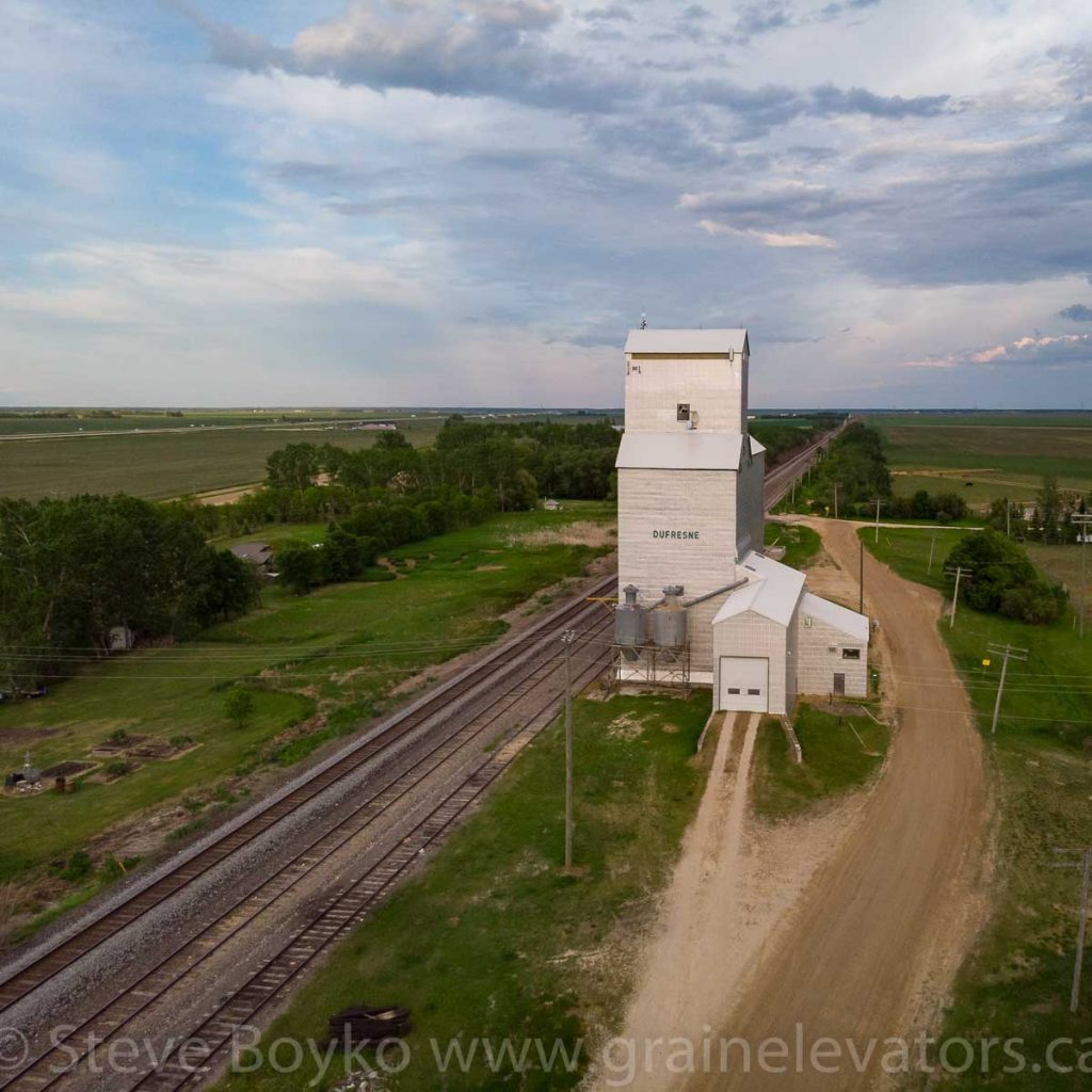 Aerial view of the Dufresne, Manitoba grain elevator, June 2019. Contributed by Steve Boyko.