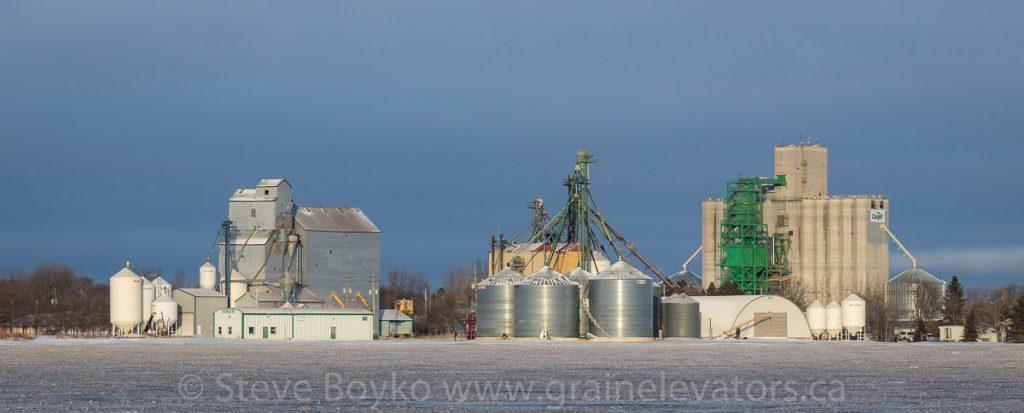 Grain elevators in Elm Creek, Manitoba, Jan 2018. Contributed by Steve Boyko.