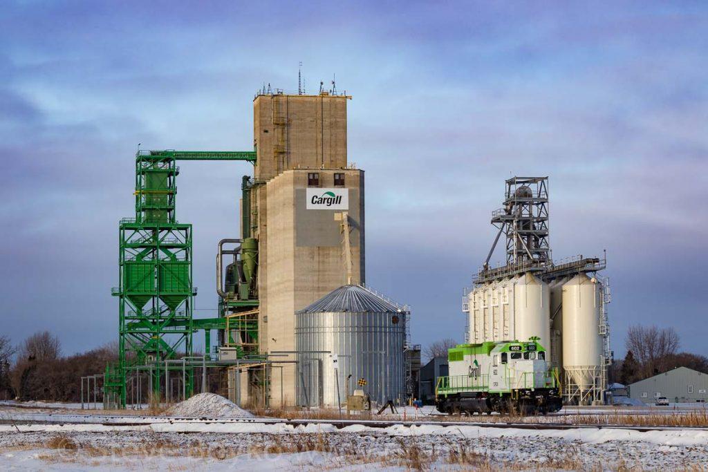 Cargill locomotive and grain elevator, Elm Creek, MB, Jan 2018. Contributed by Steve Boyko.