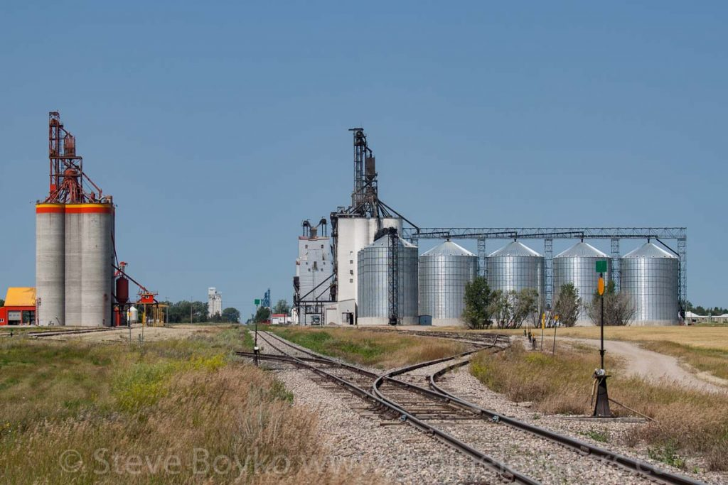 The grain elevators in Killarney, Manitoba, August 2014. Contributed by Steve Boyko.