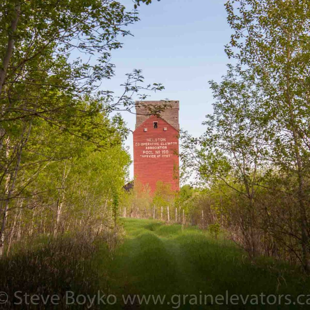 The former Manitoba Pool elevator at Helston, Manitoba. May 2014. Contributed by Steve Boyko.