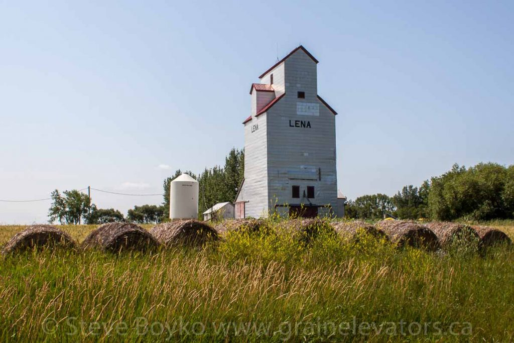 The grain elevator in Lena, Manitoba, Aug 2014. Contributed by Steve Boyko.