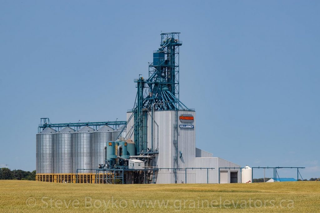 Pioneer grain elevator west of Killarney, MB, Aug 2014. Contributed by Steve Boyko.