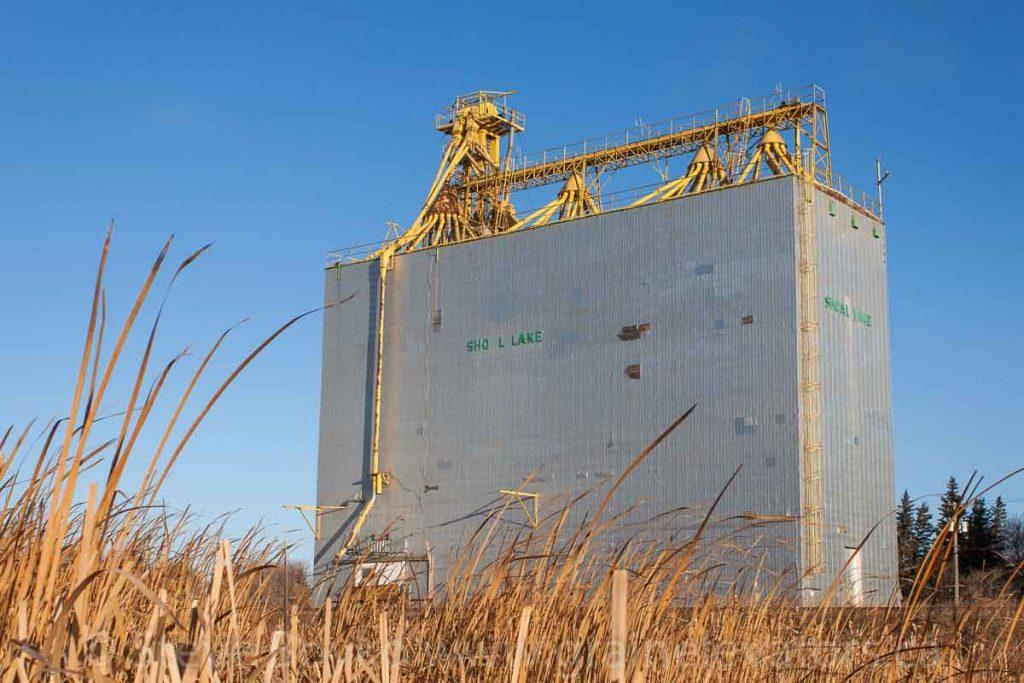 Ex Manitoba Pool grain elevator in Shoal Lake, MB, Nov 2014. Contributed by Steve Boyko.