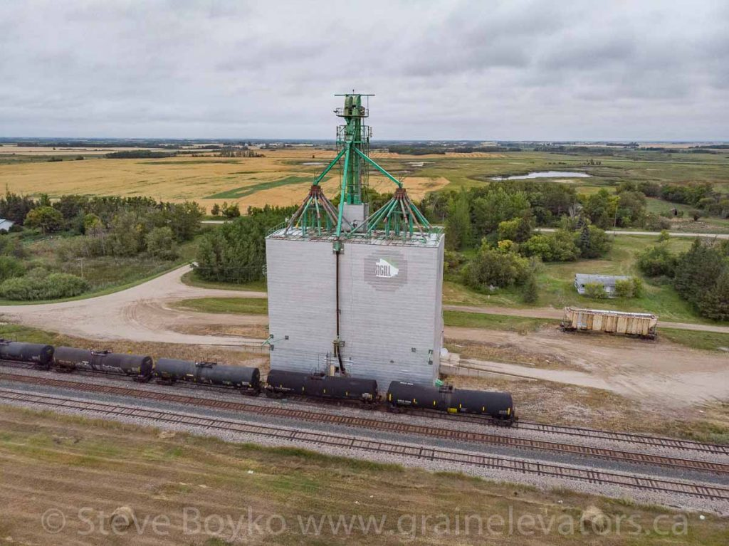 Aerial view of the Solsgirth, MB grain elevator, Aug 2019. Contributed by Steve Boyko.