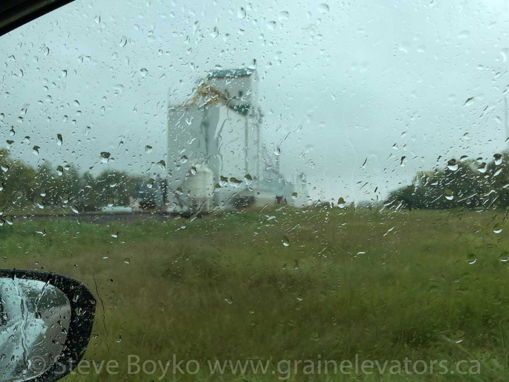 Birtle grain elevator in the rain