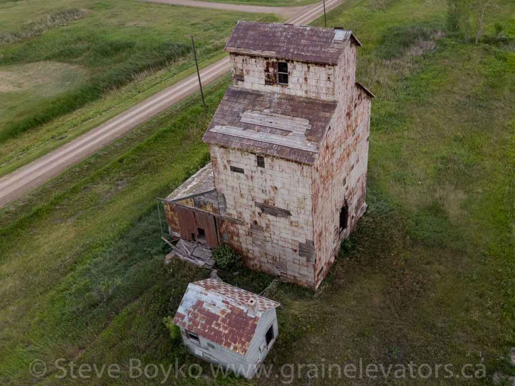 Aerial view of an Elva grain elevator, Aug 2019. Contributed by Steve Boyko.