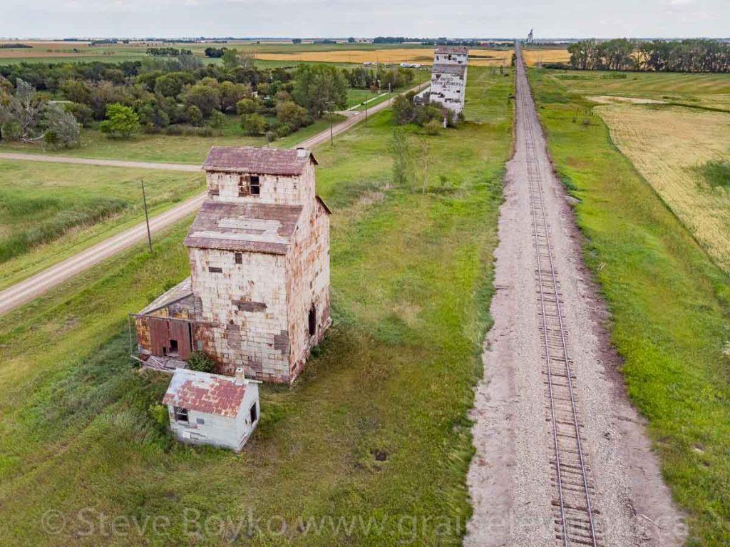 Aerial view of Elva's grain elevators