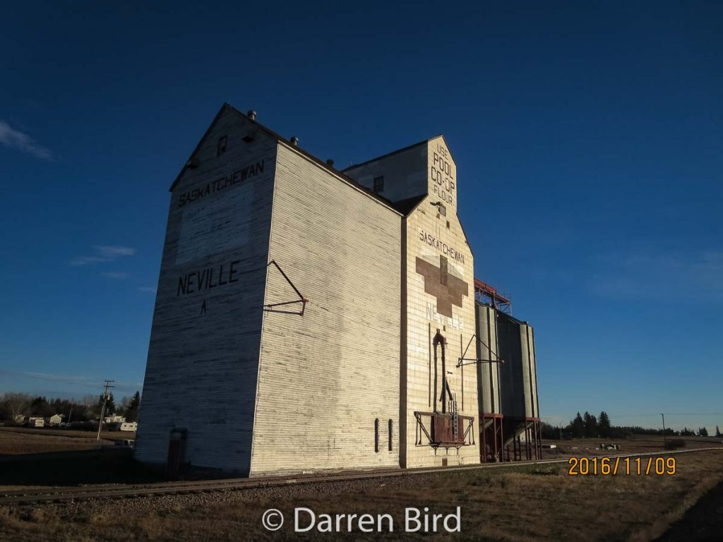 Grain elevator in Neville, SK, Nov 2016. Contributed by Darren Bird.