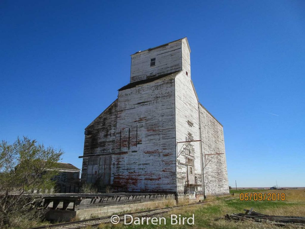 Former trackside view  of the Milden grain elevator, May 2019. Contributed by Darren Bird.