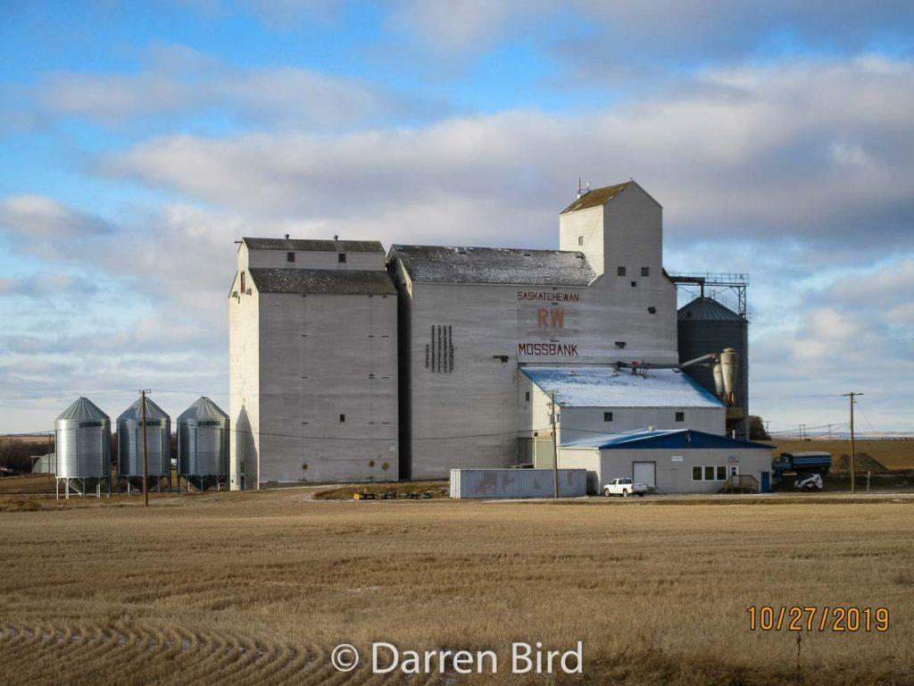 Mossbank, SK grain elevator, Oct 2019. Contributed by Darren Bird.