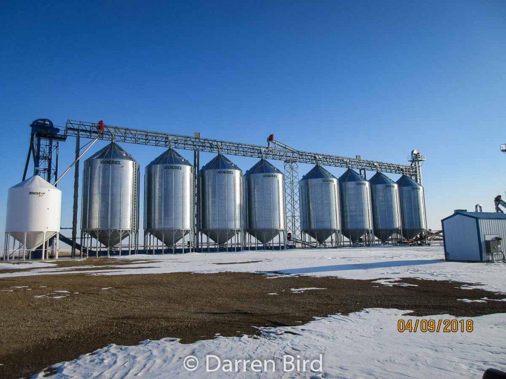 Grain storage in Woodrow, SK, Apr 2018. Contributed by Darren Bird.