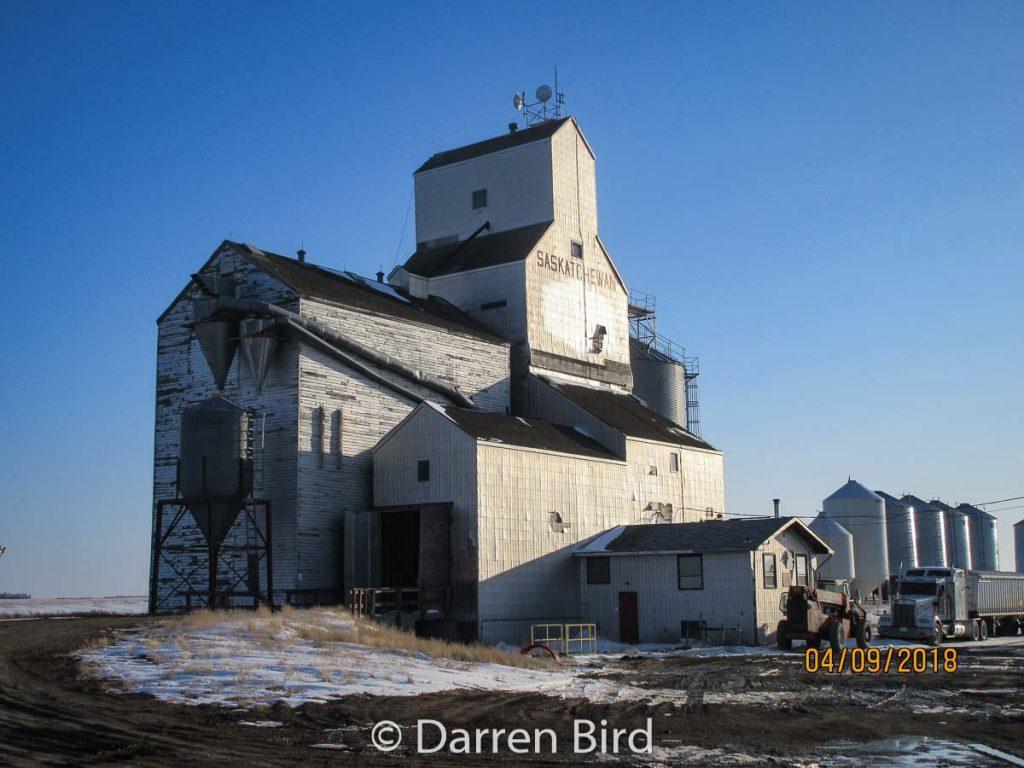 Grain elevator in Woodrow, SK, Apr 2018. Contributed by Darren Bird.
