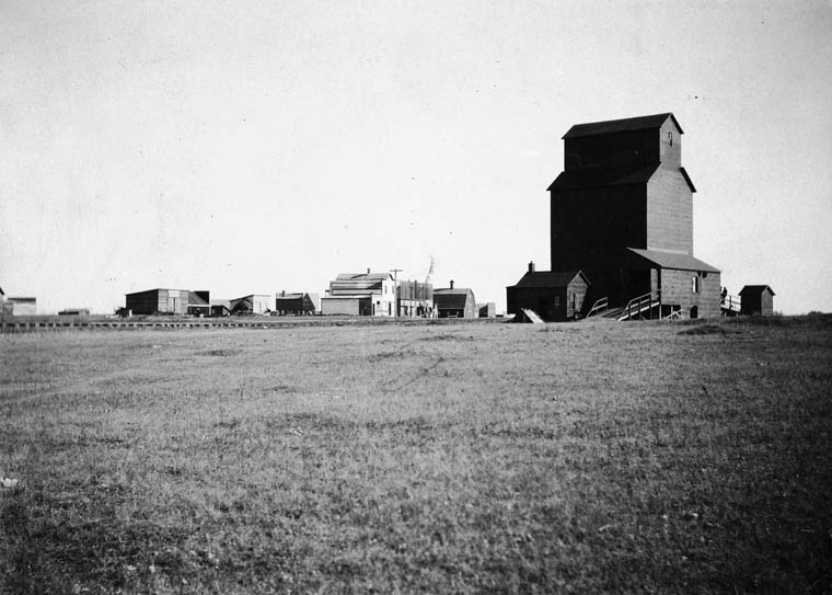 Maymont, SK grain elevator, 1908.  J.H. Clarke/Library and Archives Canada/PA-