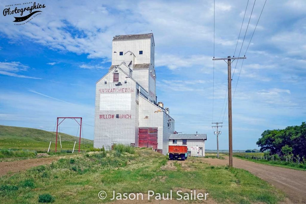 Grain elevator in Willow Bunch, SK, July 2016. Contributed by Jason Paul Sailer.